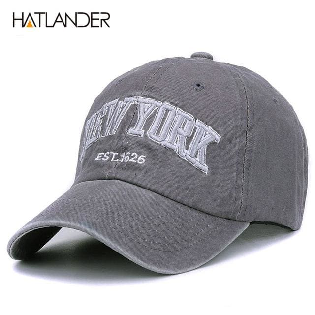 [HATLANDER]Sand washed 100% cotton baseball cap hat for women men vintage dad hat NEW YORK grey as picture