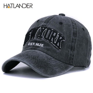 [HATLANDER]Sand washed 100% cotton baseball cap hat for women men vintage dad hat NEW YORK dark grey as pic