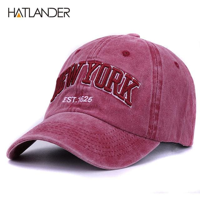 [HATLANDER]Sand washed 100% cotton baseball cap hat for women men vintage dad hat NEW YORK bordeaux as pic
