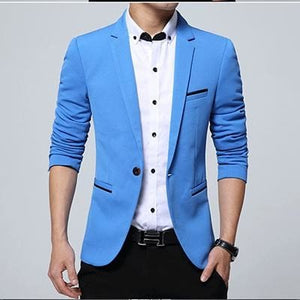 HCXY Fashion Men Blazer Casual Suits Slim Fit suit jacket Men Sping Costume Homme Terno Masculin Sky Blue / XXXL