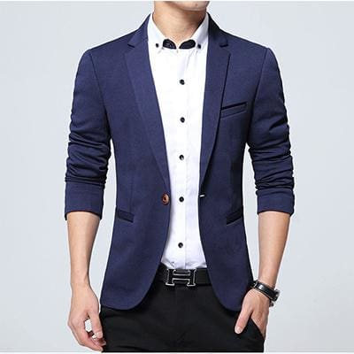 HCXY Fashion Men Blazer Casual Suits Slim Fit suit jacket Men Sping Costume Homme Terno Masculin Navy blue / XXXL