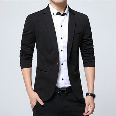 HCXY Fashion Men Blazer Casual Suits Slim Fit suit jacket Men Sping Costume Homme Terno Masculin Black / XXXL