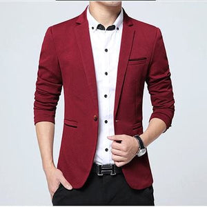 HCXY Fashion Men Blazer Casual Suits Slim Fit suit jacket Men Sping Costume Homme Terno Masculin Red / XXXL