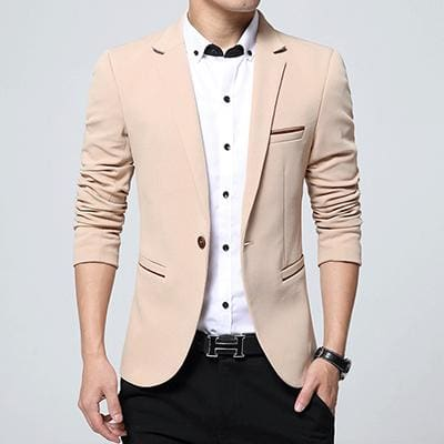 HCXY Fashion Men Blazer Casual Suits Slim Fit suit jacket Men Sping Costume Homme Terno Masculin Khaki / XXXL