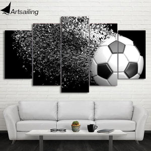 HD Printed 5 Piece Canvas Art Football Disintegration Painting Wall Pictures Modular Framed Painting.