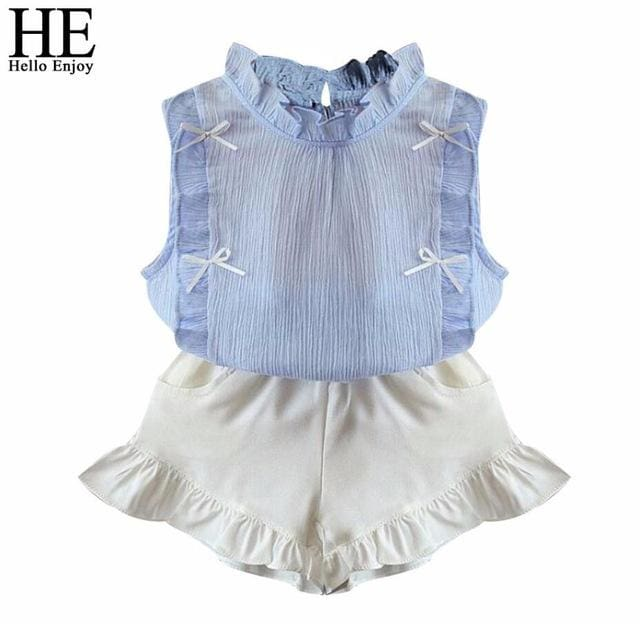 He Hello Enjoy Children Clothing Sets Girls Clothes Summer Tops+Shorts Suits Sleeveless Kids Clothes Sky Blue / 2T