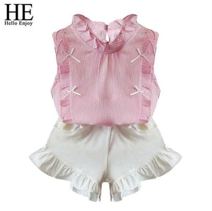 He Hello Enjoy Children Clothing Sets Girls Clothes Summer Tops+Shorts Suits Sleeveless Kids Clothes Pink / 2T