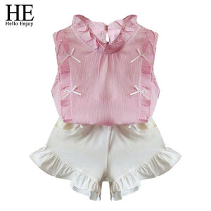 He Hello Enjoy Children Clothing Sets Girls Clothes Summer Tops+Shorts Suits Sleeveless Kids Clothes