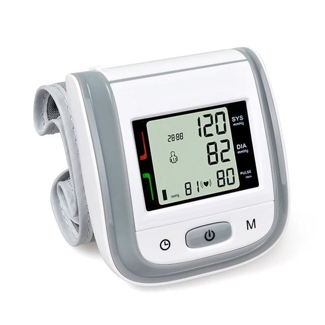 Health Care Automatic Wrist Blood Pressure Monitor Digital Lcd Wrist Cuff Blood Pressure Meter Grey