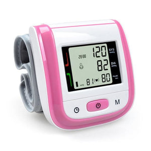 Health Care Automatic Wrist Blood Pressure Monitor Digital Lcd Wrist Cuff Blood Pressure Meter Pink