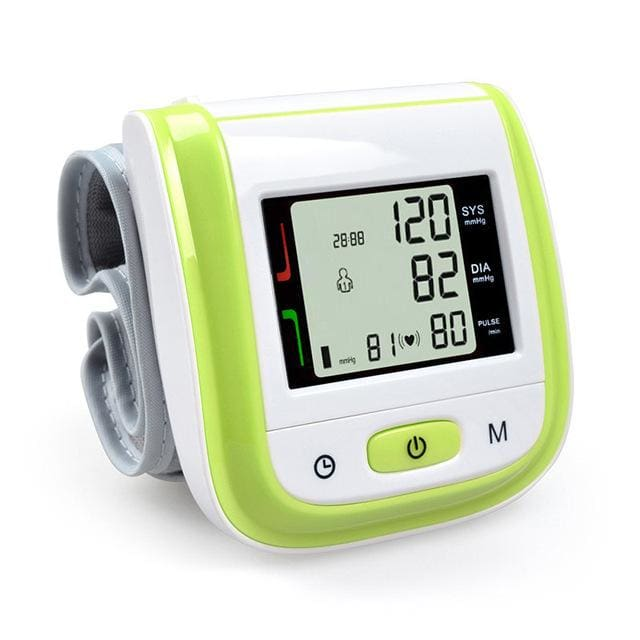Health Care Automatic Wrist Blood Pressure Monitor Digital Lcd Wrist Cuff Blood Pressure Meter Green