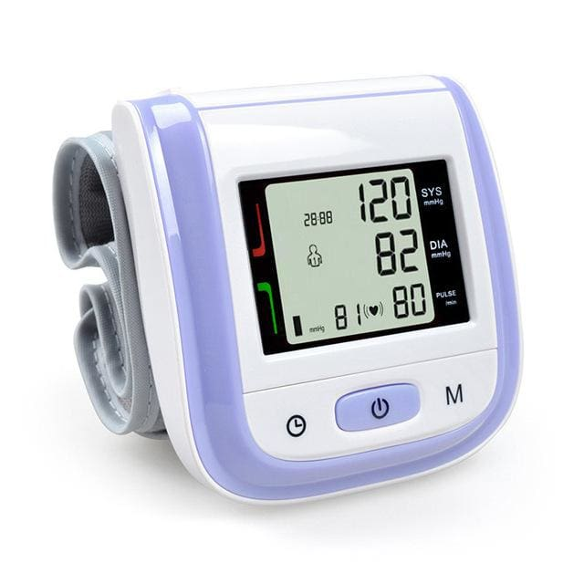 Health Care Automatic Wrist Blood Pressure Monitor Digital Lcd Wrist Cuff Blood Pressure Meter Purple