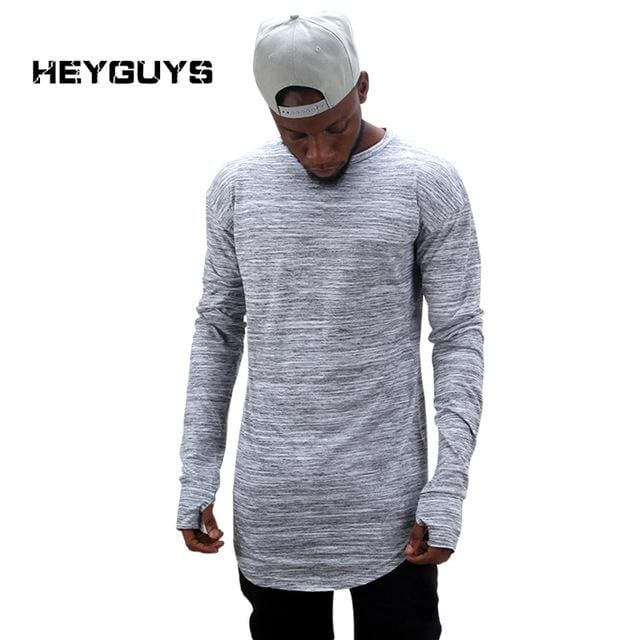 Heyguys 2017 Extend Hip Hop Street T-Shirt Wholesale Fashion Brand T Shirts Men Summer Long Sleeve Gray / S