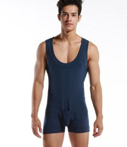 High quality Brand DESMIIT Male sexy Underwear Shapers Mens Bodysuits man Breathable cotton Body Navy Blue / XL