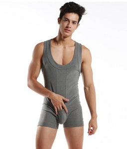 High quality Brand DESMIIT Male sexy Underwear Shapers Mens Bodysuits man Breathable cotton Body Gray / XL