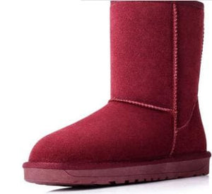 High Quality Cowhide Snow Boots 2018 New Winter High Quality Snow Shoes Long Warm Shoes Size 35-40 Maroon / 5