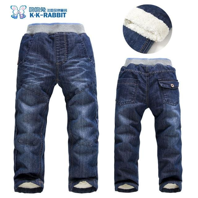 High quality KK-RABBIT Winter Thick Fashion Boys Pants Kids Trousers Girls Baby Children Jeans - MBMCITY