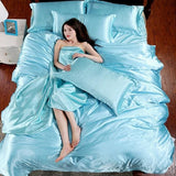 HOT! 100% pure satin silk bedding set Home Textile King size bed set bedclothes duvet cover flat Blue / King 4pcs
