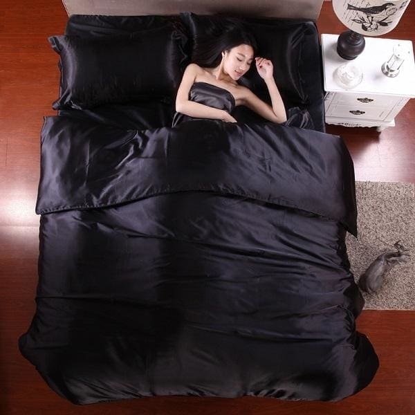 HOT! 100% pure satin silk bedding set Home Textile King size bed set bedclothes duvet cover flat Black / King 4pcs