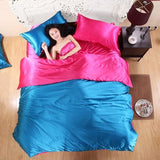 HOT! 100% pure satin silk bedding set Home Textile King size bed set bedclothes duvet cover flat Clear / King 4pcs