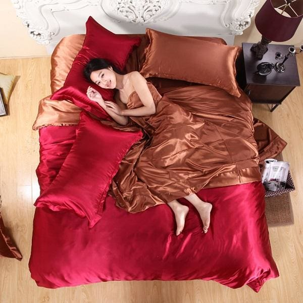 HOT! 100% pure satin silk bedding set Home Textile King size bed set bedclothes duvet cover flat Chocolate / Family suite 5pcs