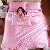 HOT! 100% pure satin silk bedding set Home Textile King size bed set bedclothes duvet cover flat Pink / King 4pcs