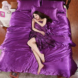 HOT! 100% pure satin silk bedding set Home Textile King size bed set bedclothes duvet cover flat Purple / King 4pcs