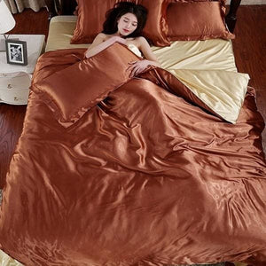 HOT! 100% pure satin silk bedding set Home Textile King size bed set bedclothes duvet cover flat Gold / King 4pcs