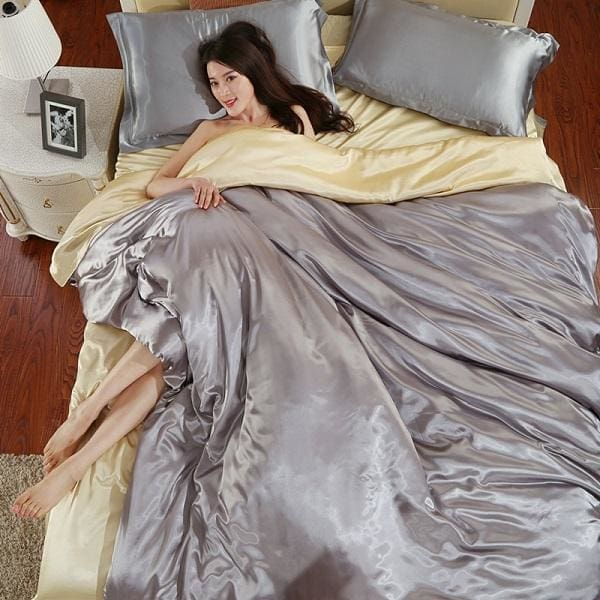 HOT! 100% pure satin silk bedding set Home Textile King size bed set bedclothes duvet cover flat Gray / King 4pcs