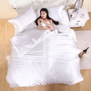 HOT! 100% pure satin silk bedding set Home Textile King size bed set bedclothes duvet cover flat White / King 4pcs