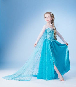 Hot 2017 Summer Girl Fashion Elsa Anna Dress Children Clothing Girls Princess Elsa Anna Party Blue 3 / 2T