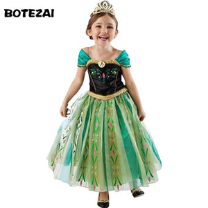 Hot 2017 Summer Girl Fashion Elsa Anna Dress Children Clothing Girls Princess Elsa Anna Party