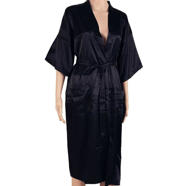 Hot Sale Black Men Sexy Faux Silk Kimono Bathrobe Gown Chinese Style Male Robe Nightgown Sleepwear - MBMCITY
