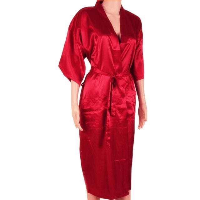 Hot Sale Black Men Sexy Faux Silk Kimono Bathrobe Gown Chinese Style Male Robe Nightgown Sleepwear Red / S