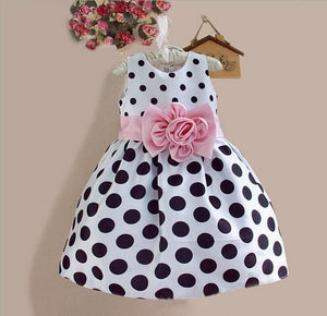 Hot Sale Christmas Super Flower Girls Dresses For Party Wedding Bow Dot Print Kids Princess Dress White / 3T