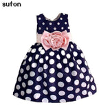 Hot Sale Christmas Super Flower Girls Dresses For Party Wedding Bow Dot Print Kids Princess Dress