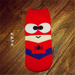Hot Sale! Men Socks Cotton Superman Spiderman Captain America Avenge Mens And Male Short Sock 5