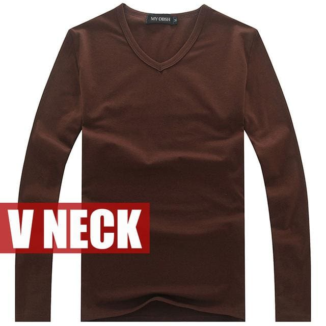 Hot Sale New spring high-elastic cotton t-shirts men's long sleeve v neck tight t shirt free CHINA.