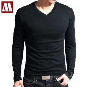Hot Sale New Spring High-Elastic Cotton T-Shirts Mens Long Sleeve V Neck Tight T Shirt Free China