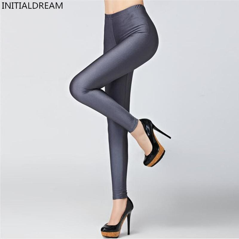 Hot Selling 2018 Plus Size Fluorescent Color Women Leggings Elastic Leggings Multicolor Shiny Glossy