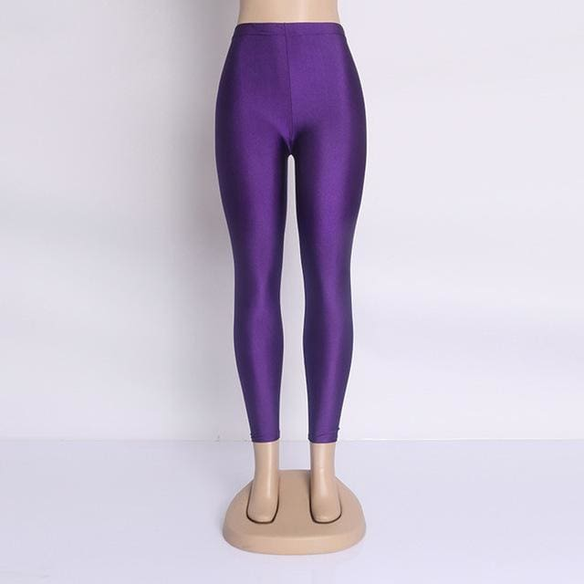 Hot Selling 2018 Plus Size Fluorescent Color Women Leggings Elastic Leggings Multicolor Shiny Glossy Purple / S