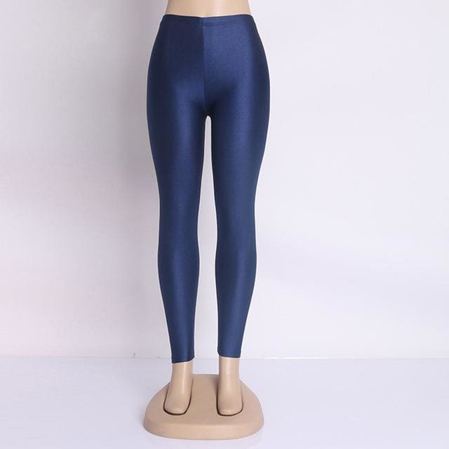 Hot Selling 2018 Plus Size Fluorescent Color Women Leggings Elastic Leggings Multicolor Shiny Glossy Navy Blue / S