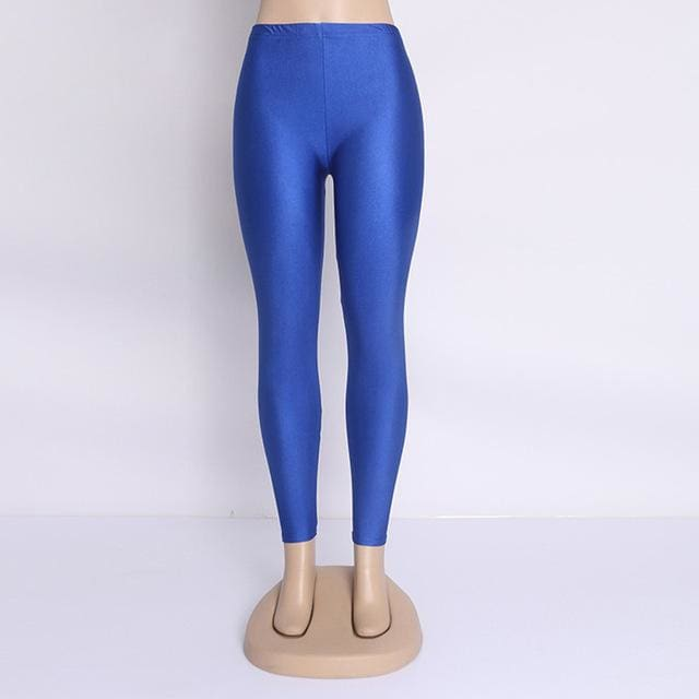 Hot Selling 2018 Plus Size Fluorescent Color Women Leggings Elastic Leggings Multicolor Shiny Glossy Deep Blue / S
