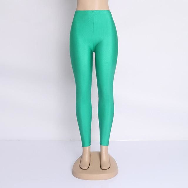 Hot Selling 2018 Plus Size Fluorescent Color Women Leggings Elastic Leggings Multicolor Shiny Glossy Green / S