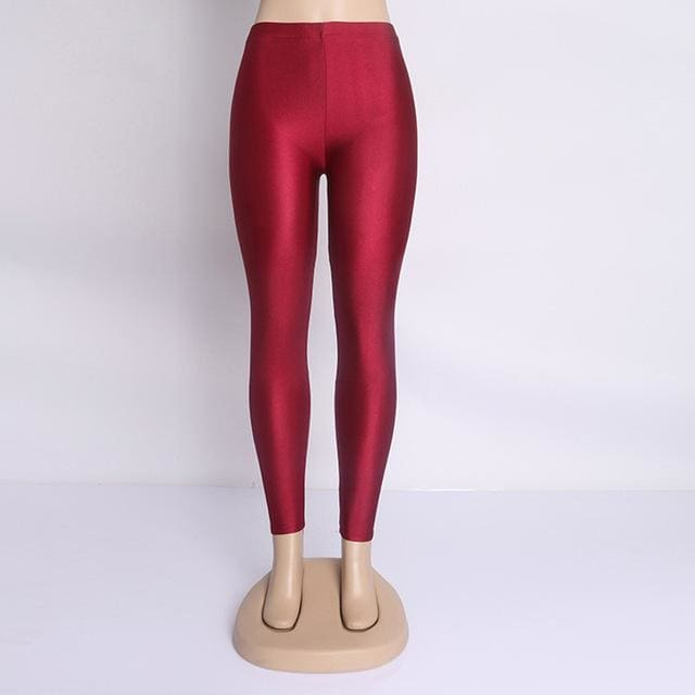 Hot Selling 2018 Plus Size Fluorescent Color Women Leggings Elastic Leggings Multicolor Shiny Glossy Burgundy / S