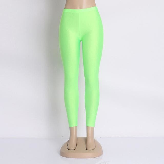 Hot Selling 2018 Plus Size Fluorescent Color Women Leggings Elastic Leggings Multicolor Shiny Glossy Fluo Green / S