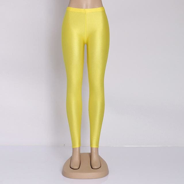 Hot Selling 2018 Plus Size Fluorescent Color Women Leggings Elastic Leggings Multicolor Shiny Glossy Yellow / S