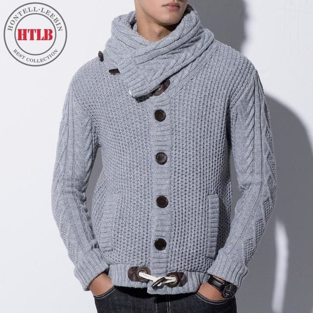 Htlb Brand Autumn Winter Fashion Casual Cardigan Sweater Coat Men Loose Fit 100% Acrylic Warm Gray / Xxl
