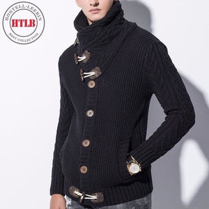 Htlb Brand Autumn Winter Fashion Casual Cardigan Sweater Coat Men Loose Fit 100% Acrylic Warm Black / Xxl