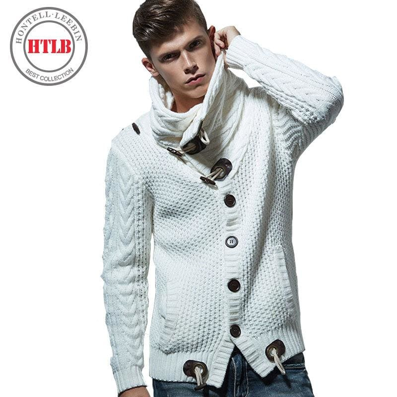 Htlb Brand Autumn Winter Fashion Casual Cardigan Sweater Coat Men Loose Fit 100% Acrylic Warm